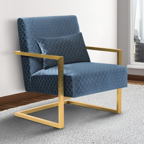 Skyline Contemporary Accent Chair In Blue Velvet With Gold Brushed Steel Finish Armen Living Target