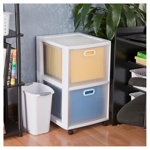 Sterilite Ultra 2 Drawer Storage Cart White
