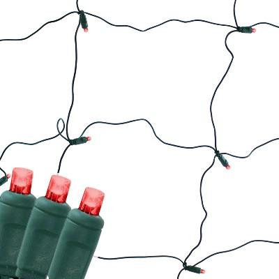 6' x 4' LED Net Style Christmas Lights - Red - Sunnydaze Decor
