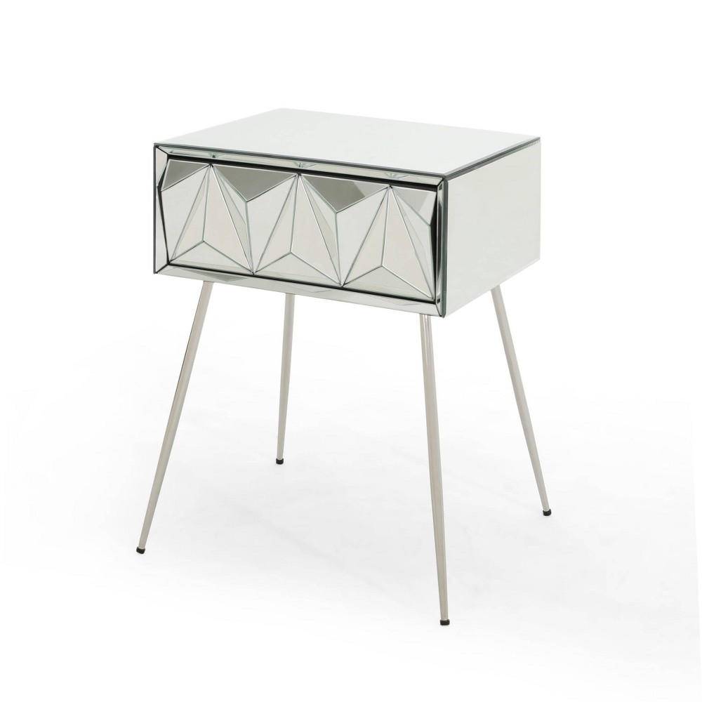 Corwin Mirrored Side Table Silver - Christopher Knight Home