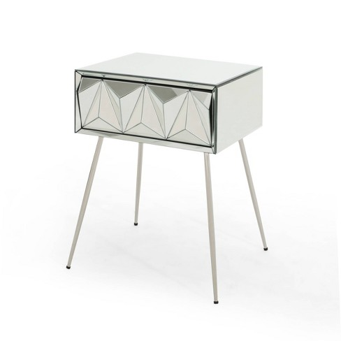 Corwin Mirrored Side Table Silver, Silver Mirror Side Table