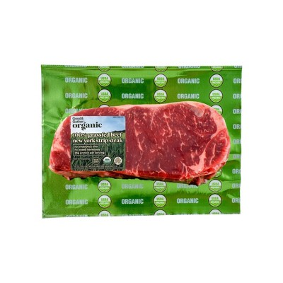 Organic 100% Grassfed NY Strip Steak - 0.5-0.75 lbs. - price per lb - Good & Gather™