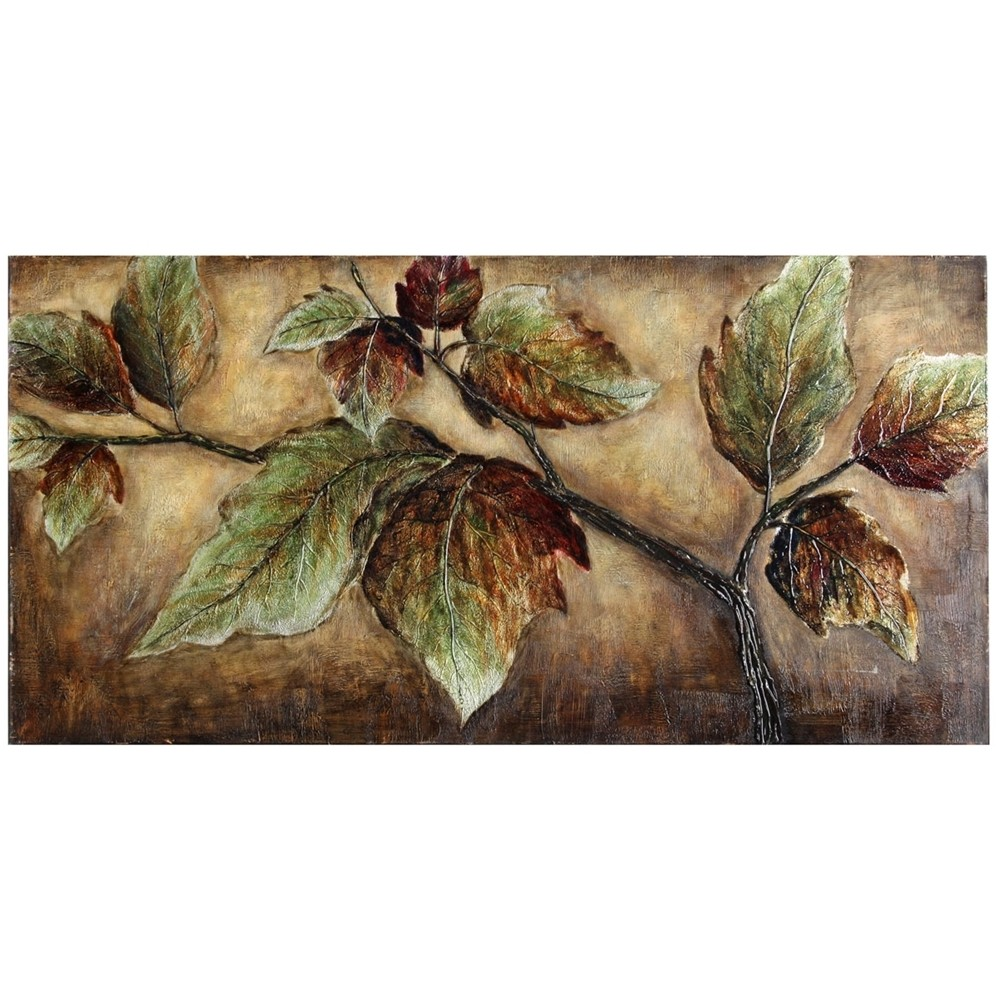 60 Autumn Leaves Oil Painting High Gloss Glaze Stretched Canvas Decorative Wall Art Brown - StyleCraft