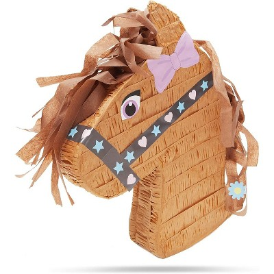 Horse Pinata for Farm Animal, Wild West, Pony, Cowboy Themed, Kids Girls Birthday Party Supplies and Decorations, Small 16 x 12 inches
