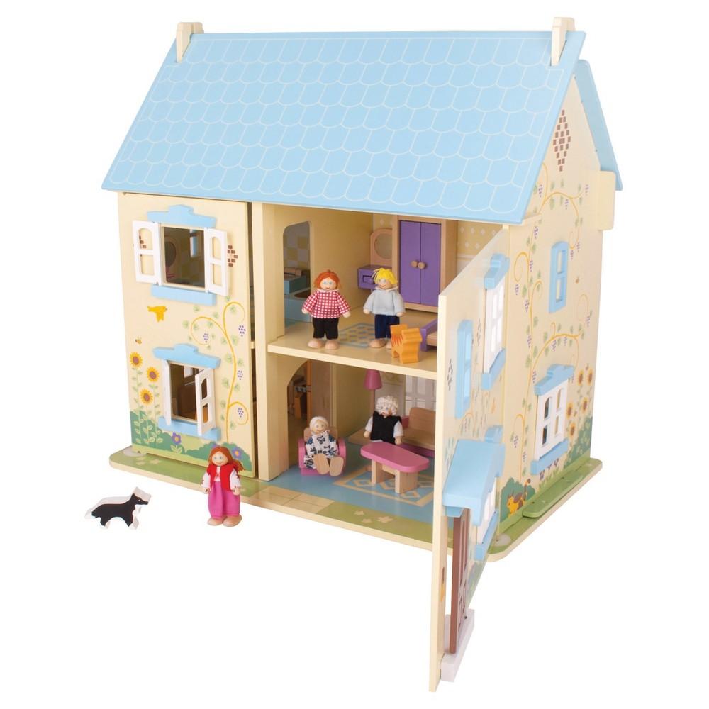 Bigjigs Toys Sunflower Cottage Wooden Dollhouse
