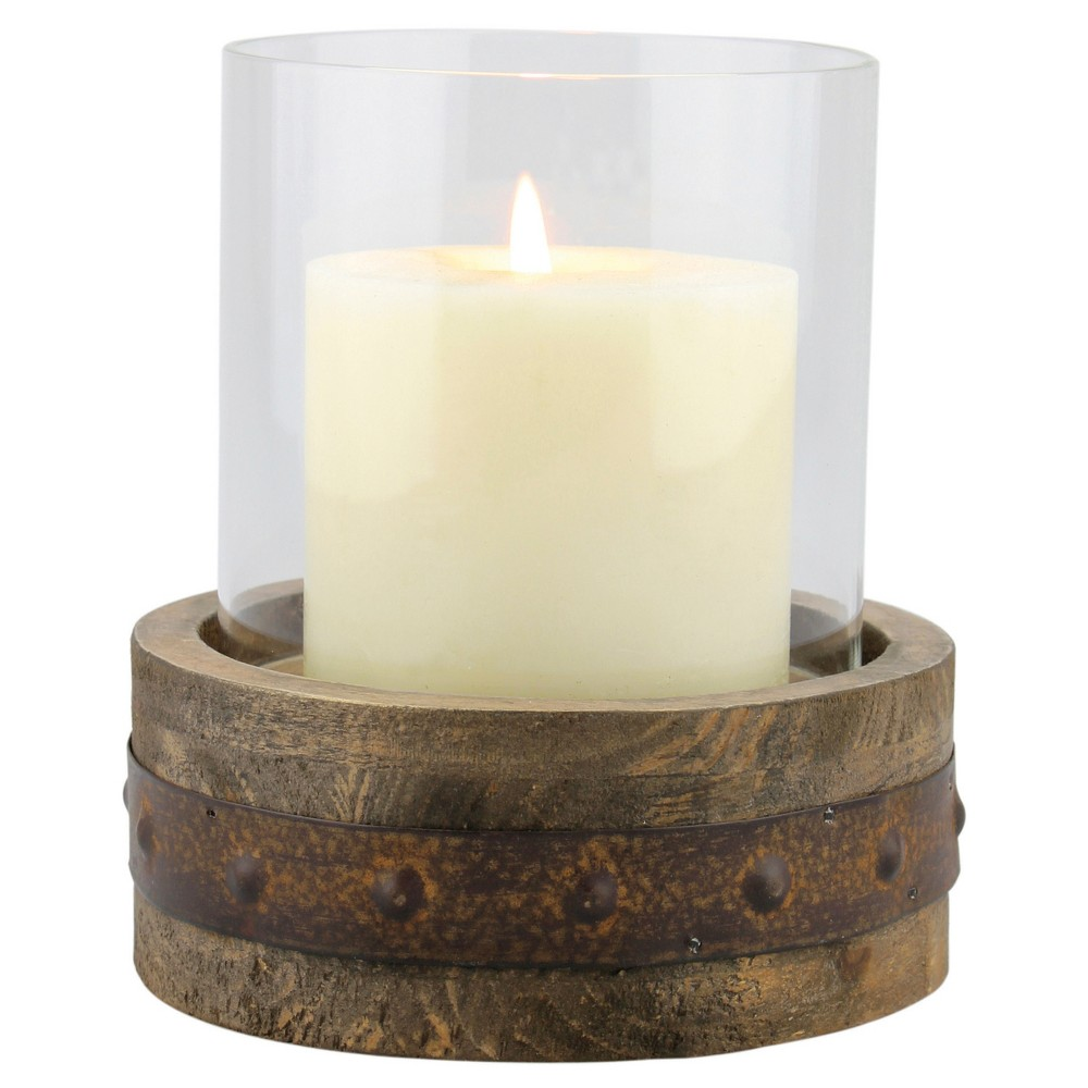 "Image of ""5.5"""" Stonebriar Rustic Wood and Glass Pillar Candle Holder - CKK Home Decor, Clear Brown"""
