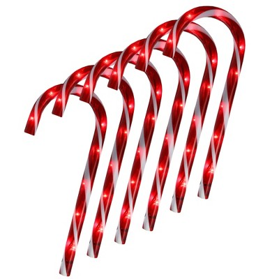 """Northlight Set of 6 Pre-Lit Red and White Blinking Candy Cane Outdoor Christmas Pathway Markers 12"""""""