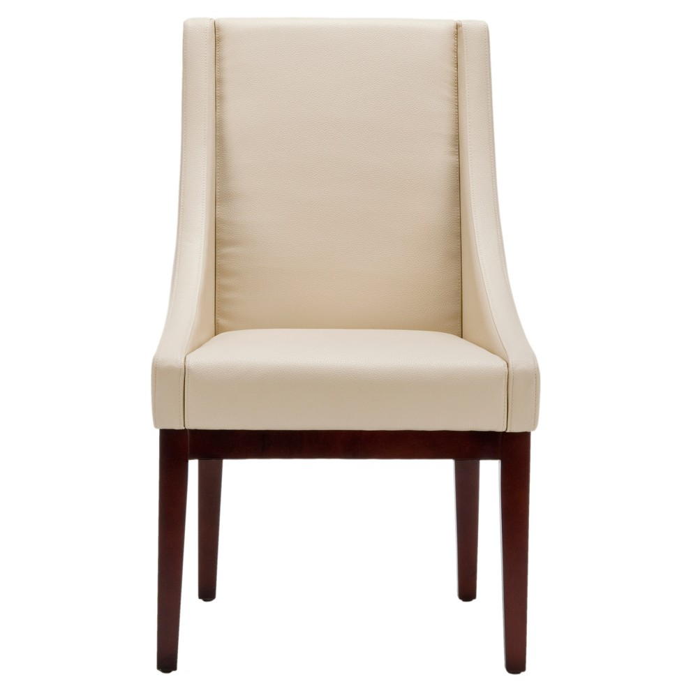 Leather Sloping Armchair Cream (Ivory) - Safavieh