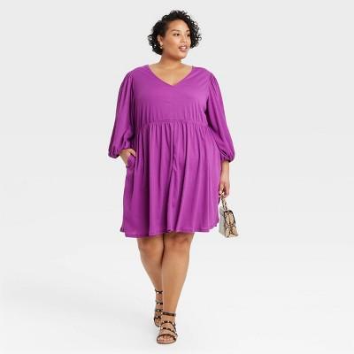 Women's Plus Size Long Sleeve Knit Babydoll Dress - Ava & Viv™