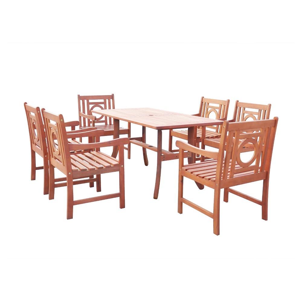 Malibu 7pc Rectangle Hardwood Outdoor Eco-friendly Patio Dining Set - Brown - Vifah, Urban Safari Tan