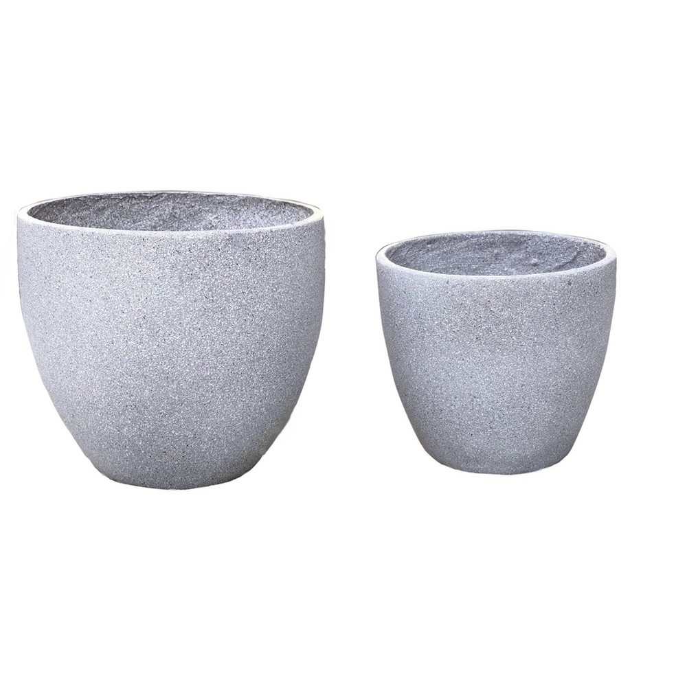 Image of 2pc Nested Clay Flower Planter Pot Gray - XBrand