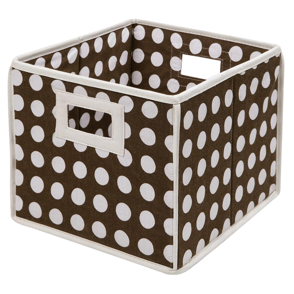 Badger Basket Company Polka Dot Fabric Cube - Brown
