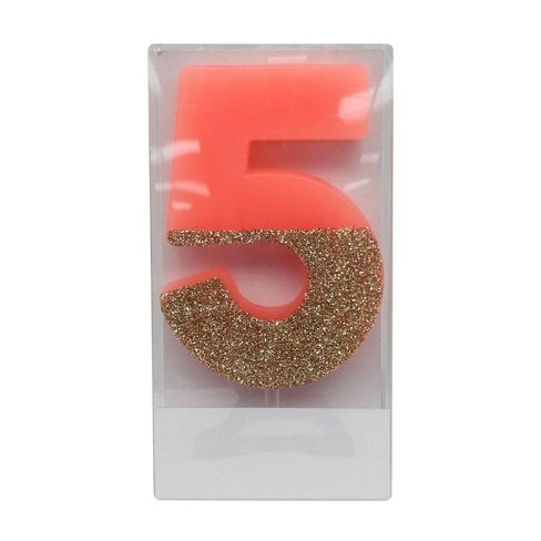 Number 5 Glitter Candle Pink - Spritz™ - image 1 of 1