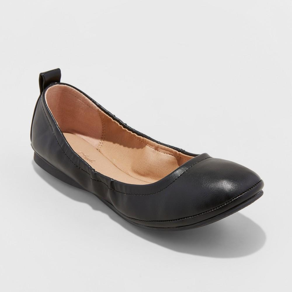 Women's Delaney Round Toe Ballet Flats - Universal Thread Black 11