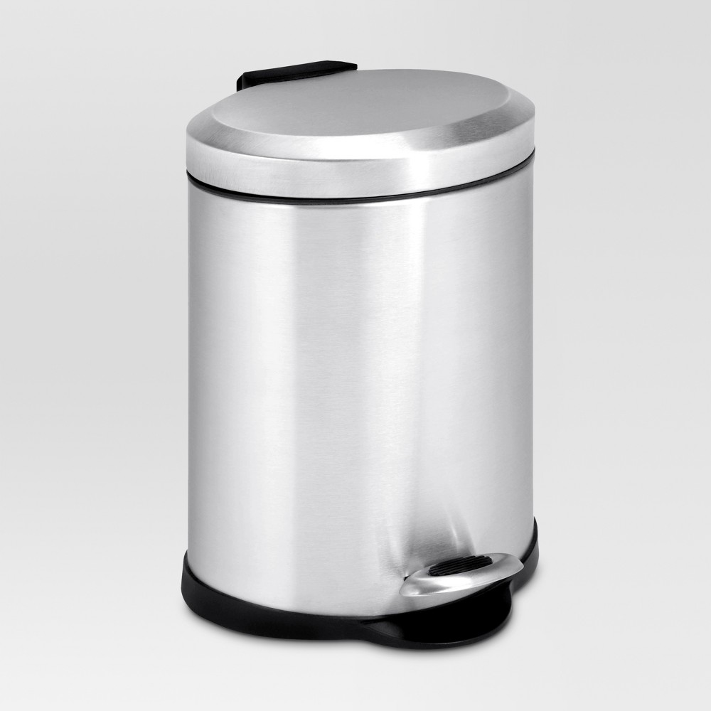 Image of 1.3 Gallon Oval Stainless Step Trash Can - Threshold, Silver