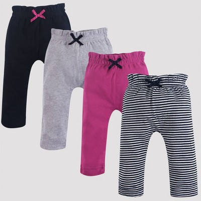 Touched by Nature Baby 4pk Harem Organic Cotton Pull-On Pants - Black/Pink/Gray 6M