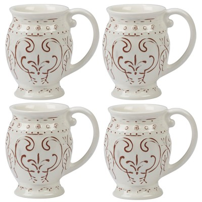 Certified International Terra Nova Ceramic Mugs 20oz White/Brown - Set of 4