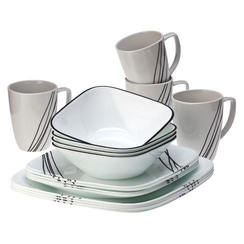 corelle® square™ 16pc dinnerware set simple sketch : target
