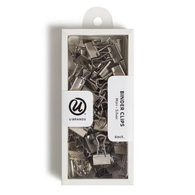 U Brands 60ct Mini Binder Clips Silver