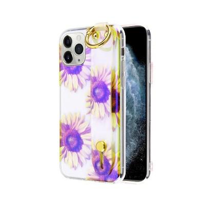 MYBAT Dreamy Hybrid w/Wristband Stand Sunflower Hard Dual Layer Plastic TPU Cover Case For Apple iPhone 11 Pro - Purple