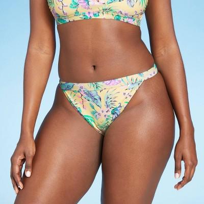 Juniors' Cheeky Mid Waist Bikini Bottom - Xhilaration™ Yellow Tropical Print