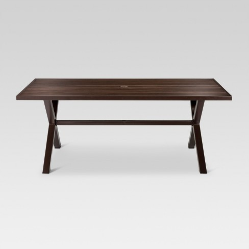 Mayhew Aluminum Top Rectangle Patio Dining Table Brown Threshold
