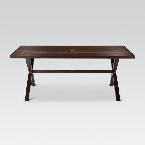 Mayhew Aluminum Top Rectangle Patio Dining Table Brown - Threshold™ : Target - Mayhew Aluminum Top Rectangle Patio Dining Table Brown - Threshold