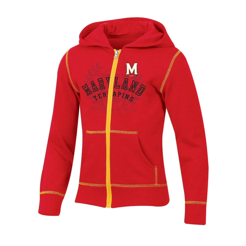 Maryland Terrapins Girls' Long Sleeve Full Zip Hoodie - S, Multicolored