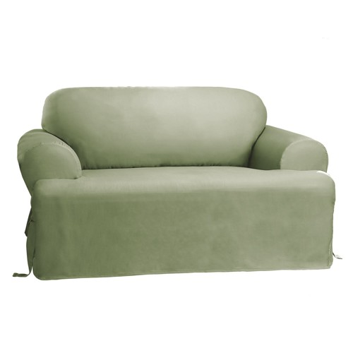 Cotton Duck Tcushion Sofa Slipcover Sage Green - Sure Fit