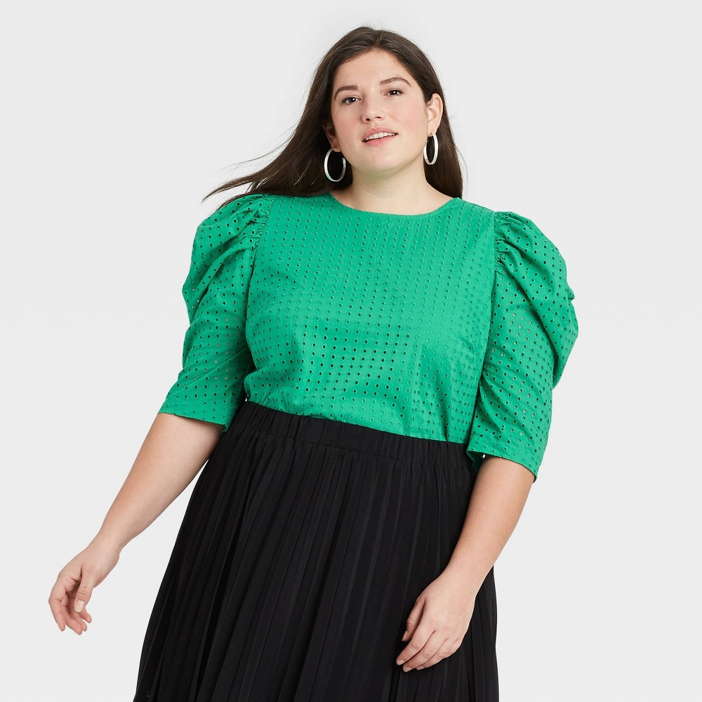 Women 39 S Plus Size Elbow Sleeve Eyelet Top A New Day 8482 Green 160 4x