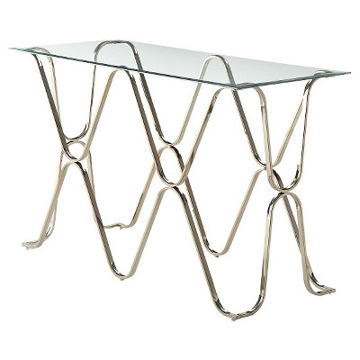 Wellingham Contemporary Metal Glass Top Sofa Table Chrome - HOMES: Inside + Out