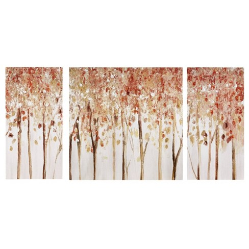 3pc Autumn Forest Canvas Art Palette Knife Embellishment Red - image 1 of 4