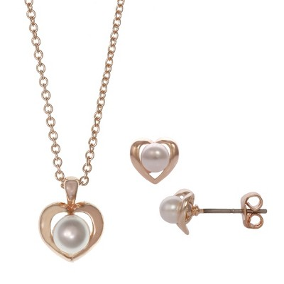 FAO Schwarz Simulated Pearl Heart Pendant Necklace & Earring Set