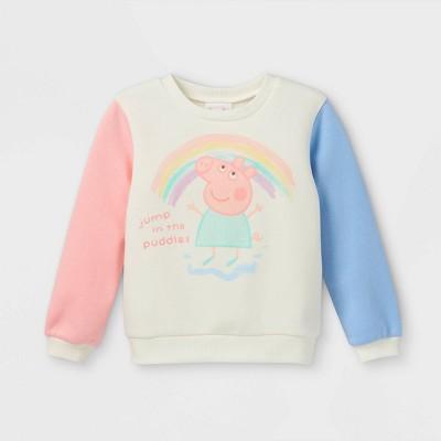 Toddler Girls' Peppa Pig Fleece Crew Neck Pullover - Cream