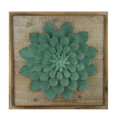 """Raz Imports 19"""" Rustic Wooden Framed Elegant Moss Green Metal Succulent Plant Wall Art"""