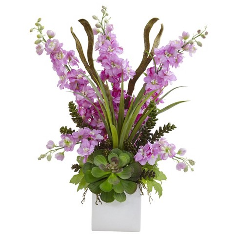 Delphinium and Succulent Arrangement Purple - Nearly Natural - image 1 of 1