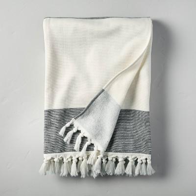 Bold Stripe Cotton Beach Towel Black/Sour Cream - Hearth & Hand™ with Magnolia