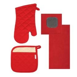MUkitchen 4 Piece Microfiber Kitchen Dish Cloth, Towel, and Oven Mitt Set, Red