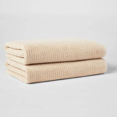 2pk XL Quick Dry Ribbed Bath Towel Set Tan - Threshold™