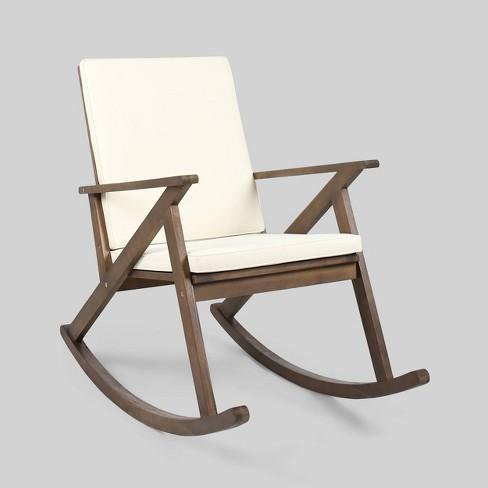 Gus Acacia Wood Patio Rocking Chair, Outdoor Rocking Chair Cushions Target