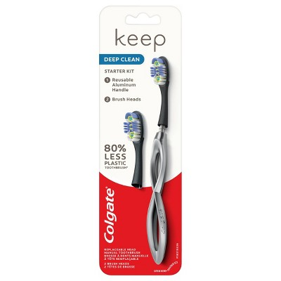 Colgate Keep Manual Toothbrush - Deep Clean Starter Kit with 2 Replaceable Brush Heads - Silver - 1ct
