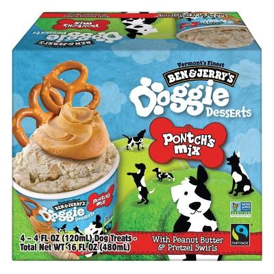Ben & Jerry's Doggie Desserts Pontch's Mix Frozen Dog Treat with Peanut Butter & Pretzel Swirls - 4ct