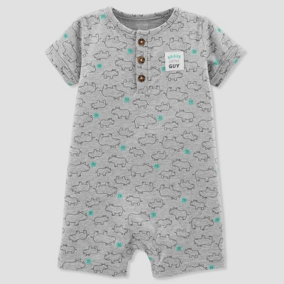 Baby Boys' 1pc Rhino Henley Romper - Just One You® made by carter's Gray 18M
