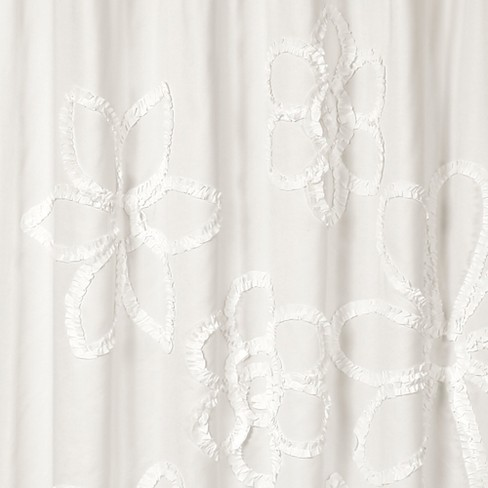 Ruffle Flower Shower Curtain White