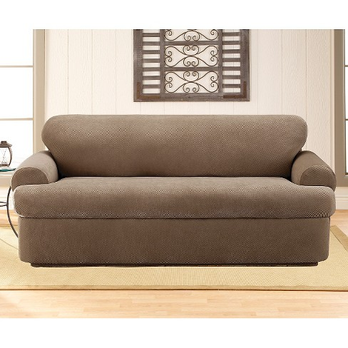 Stretch Pique 3 Piece Tsofa Slipcover Taupe Sure Fit Target