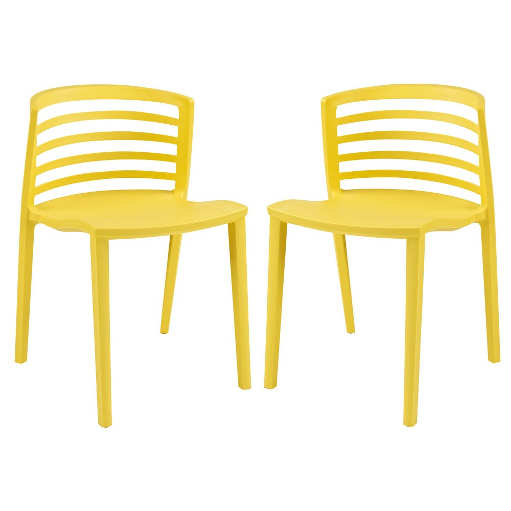 Pleasant Curvy Dining Chairs Set Of 2 Yellow Modway Short Links Chair Design For Home Short Linksinfo