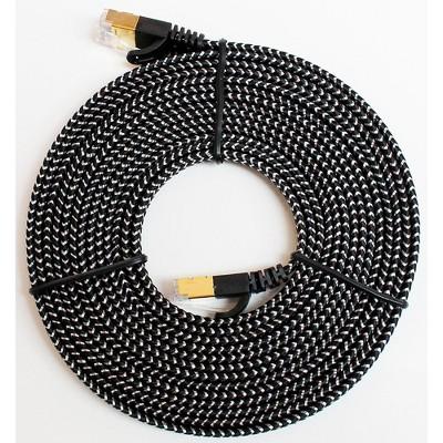 Tera Grand CAT7 10 Gigabit Ethernet Ultra Flat Braided Cable, Black/White