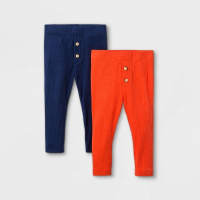 Baby Boys' 2pk Ribbed Leggings Pull-On Pants - Cat & Jack™ Dark Orange
