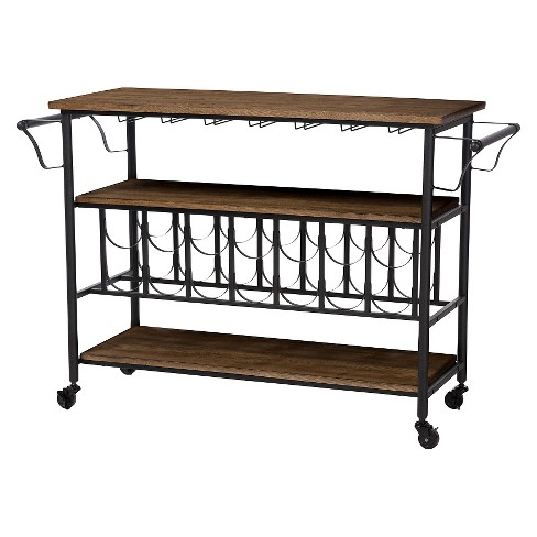 Bradford Rustic Industrial Style Antique Black & Metal Distressed Wood  Mobile Kitchen Bar Serving Wine Cart - Baxton Studio