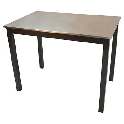 Cooper Stainless Steel Top Bar Table Wood/Black - Carolina Cottage